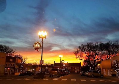 Christmas Time Street Lights Sunset Large Image