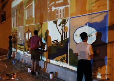 Mural First Projection Trace Volunteers Community